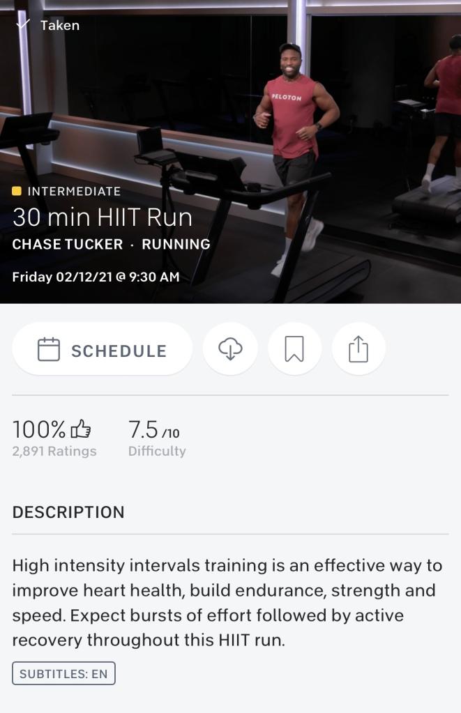 One Peloton 30 min HIIT run with Chase Tucker