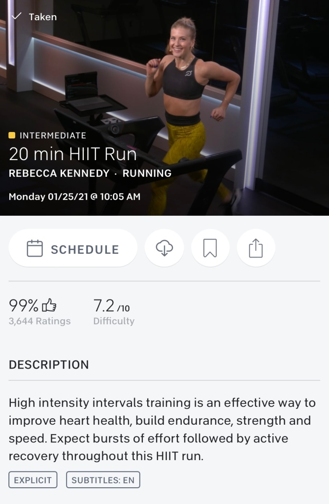 One Peloton 20 minute HIIT run with Rebecca Kennedy