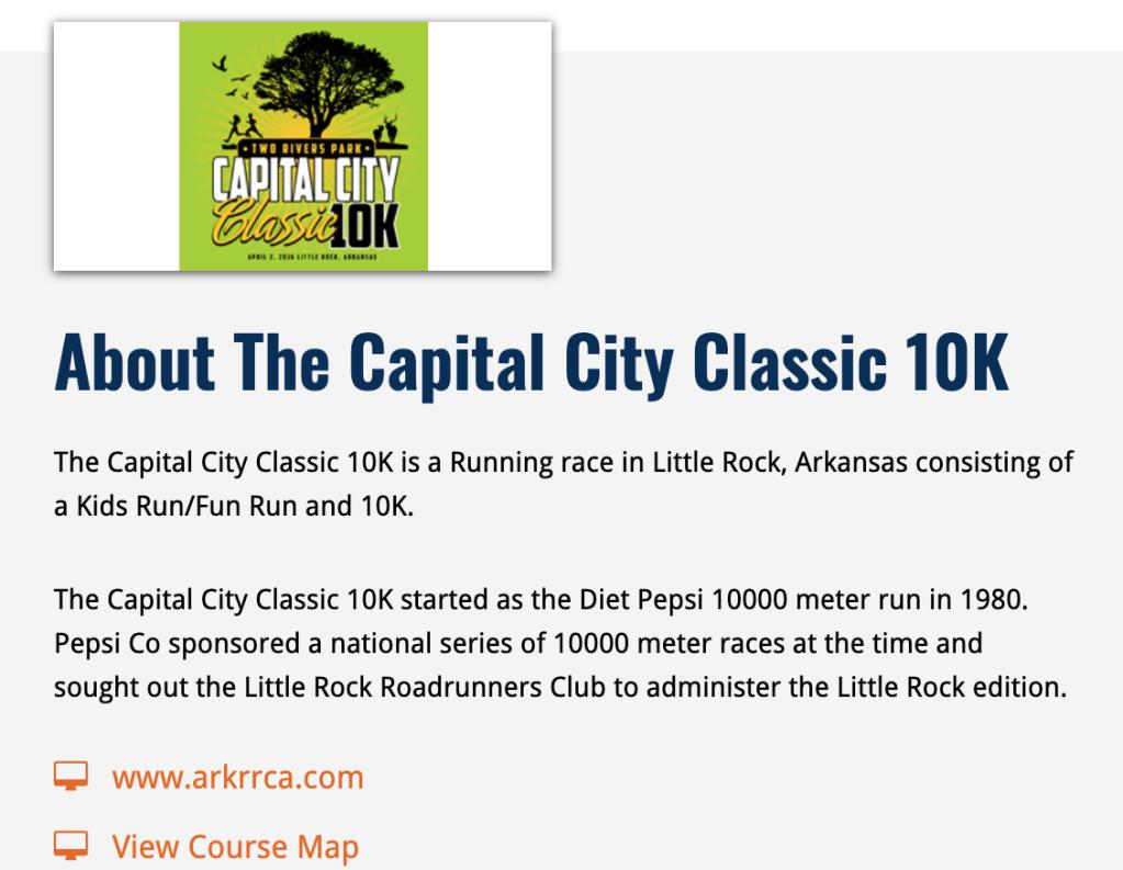 Capital City Classic 10k in Little Rock